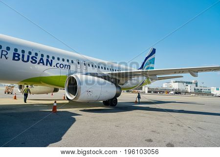 SEOUL, SOUTH KOREA - CIRCA MAY, 2017: Airbus A320-200 at Gimpo Airport. Gimpo International Airport is located in the far western end of Seoul.
