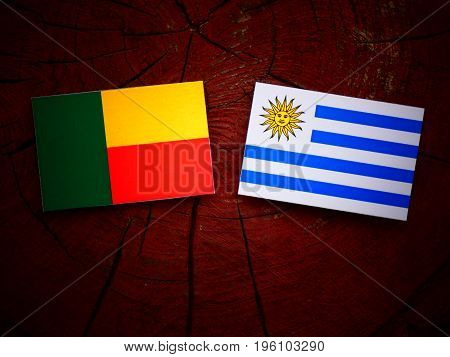 Benin Flag With Uruguaian Flag On A Tree Stump Isolated