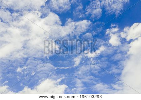 view on the beautiful blue sky with white clouds. Background.