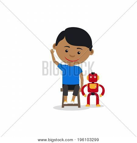 Indian boy with toy robot, isolated on the white background. Vector illustration