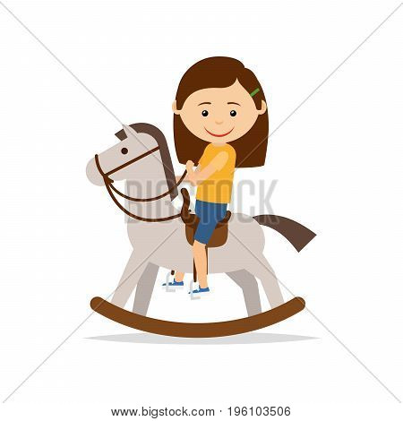 Little girl is riding a toy horse, isolated on the white background. Vector illustration