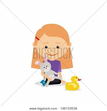 Little girl with a toy rabbit sitting on the floor, isolated on the white background. Vector illustration