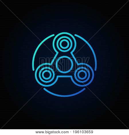 Simple fidget spinner blue icon. Vector toy concept colorful linear symbol on dark background