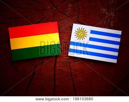 Bolivian Flag With Uruguaian Flag On A Tree Stump Isolated