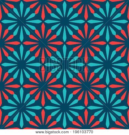 Blue and red spanish ornamental ceramic tile vector design