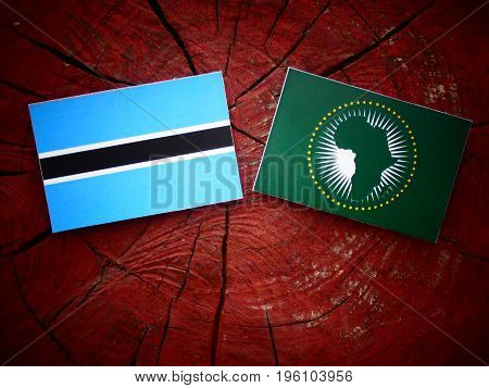 Botswana Flag With African Union Flag On A Tree Stump Isolated
