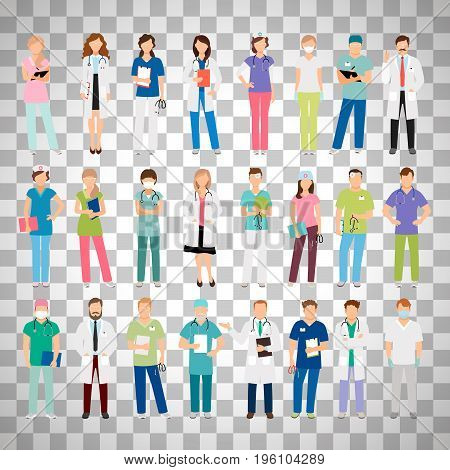 Female and male doctors and women and man nurse set vector illustration isolated on transparent background. Vector healthcare hospital medical team