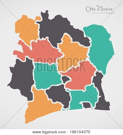 Ivory Coast Map With States And Modern Round Shapes
