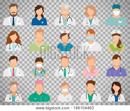 Professional doctor avatars isolated on transparent background. Medicine professionals and medical staff people icons vector illustration