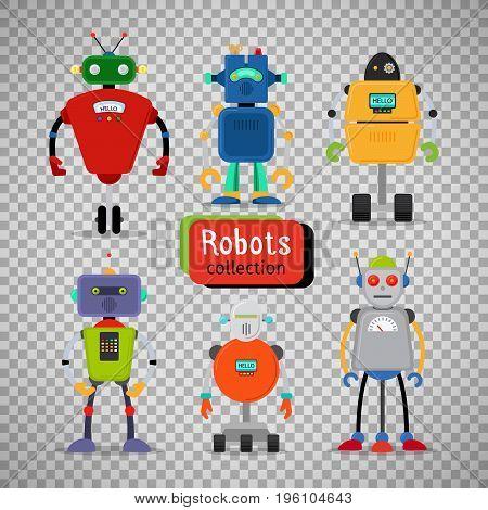 Cute cartoon robots set isolated on transparent background, vector illustration
