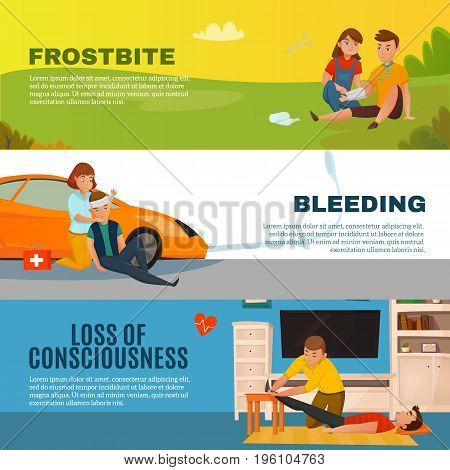 Colored emergency first aid people horizontal banner set with frostbite bleeding loss of consciousness descriptions vector illustration