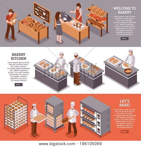 Bakery isometric horizontal banners with bakers in bakehouse kitchen equipment for cooking and fresh goods counters in bakery vector illustration
