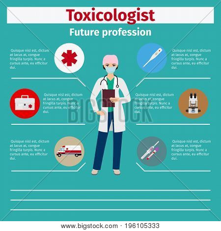 Future profession toxicologist infographic for students, vector illustration