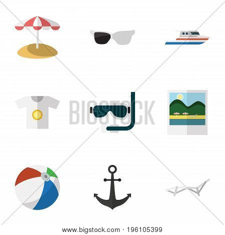 Flat Icon Summer Set Of Spectacles, Parasol, Scuba Diving And Other Vector Objects