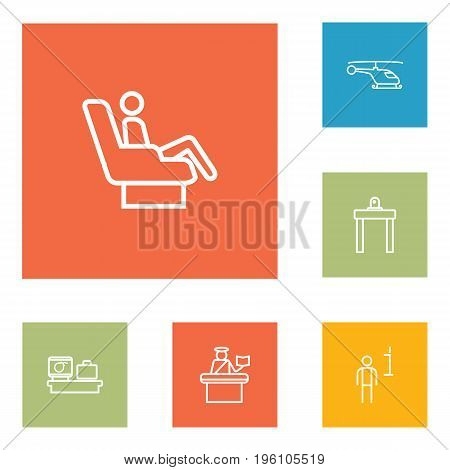 Set Of 6 Airplane Outline Icons Set