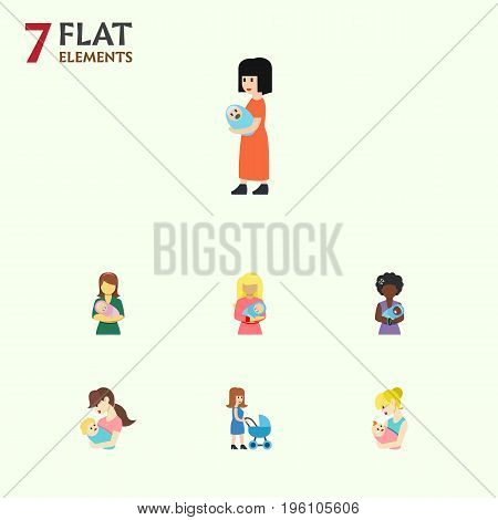 Flat Icon Mother Set Of Baby, Perambulator, Parent And Other Vector Objects
