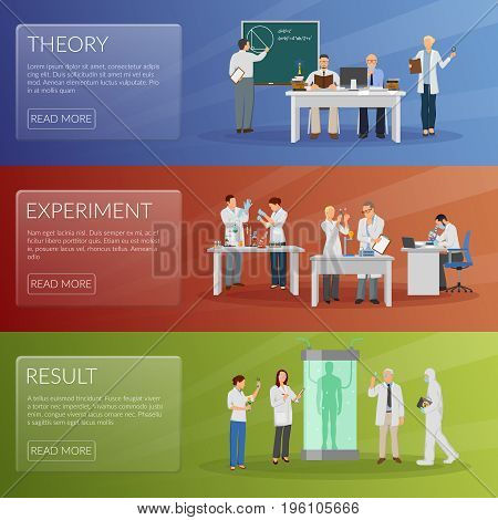 Scientist horizontal banners set with theory and experiment symbols flat isolated vector illustration