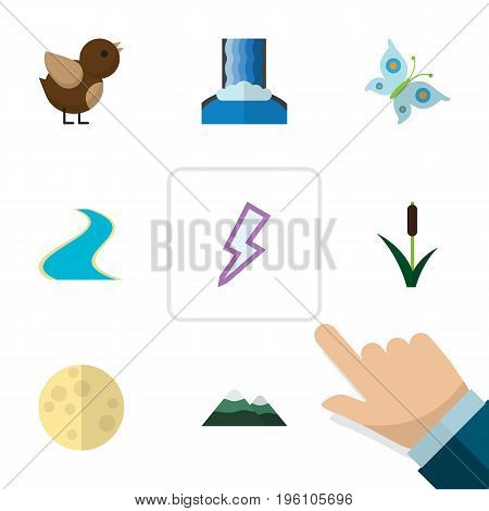Flat Icon Bio Set Of Lightning, Bird, Peak And Other Vector Objects