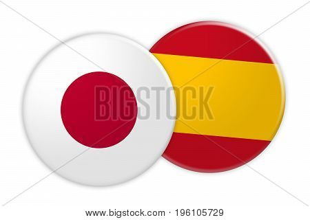 News Concept: Japan Flag Button On Spain Flag Button 3d illustration on white background