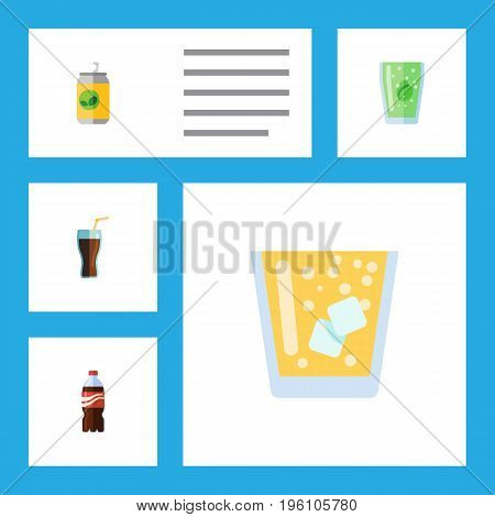 Flat Icon Beverage Set Of Lemonade, Beverage, Fizzy Drink And Other Vector Objects