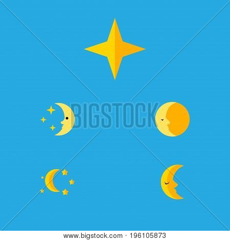 Flat Icon Bedtime Set Of Lunar, Nighttime, Bedtime And Other Vector Objects