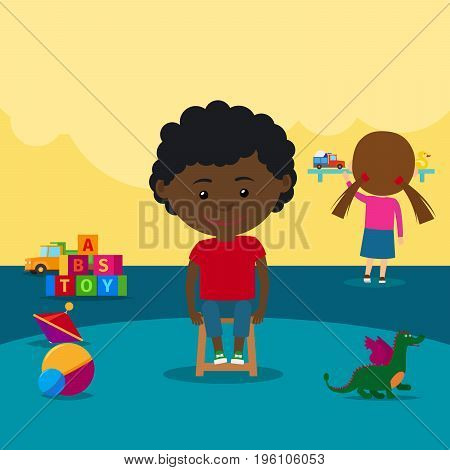 African boy in kindergarden sitting on a chair. Vector illustration