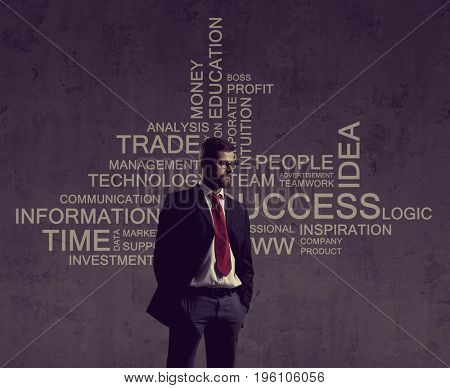 Businessman standing over wall with text. Business, success, improvement, concept.
