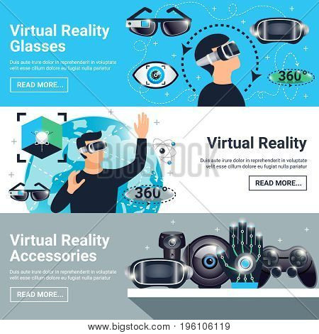 Three horizontal virtual reality banner set with glasses accessories descriptions and read more buttons vector illustration