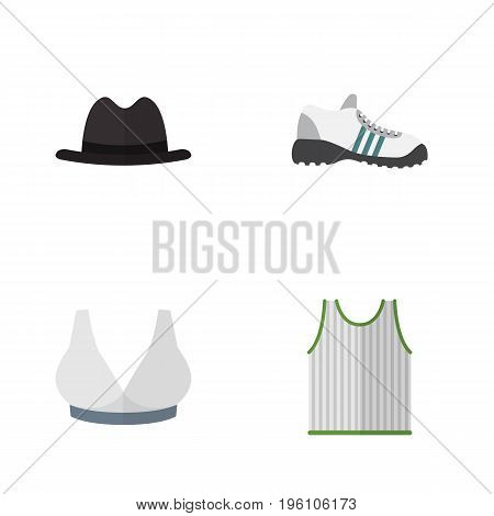 Flat Icon Clothes Set Of Sneakers, Singlet, Panama And Other Vector Objects