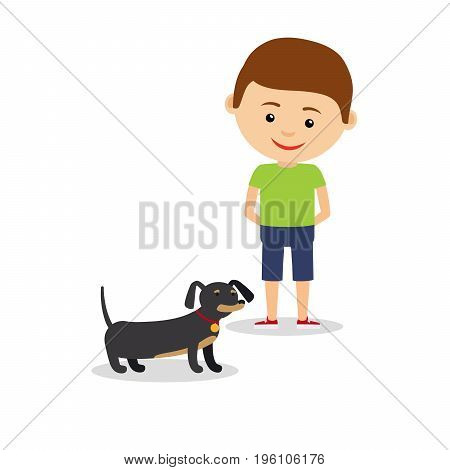 Little boy with dachshund, isolated on the white background. Vector illustration