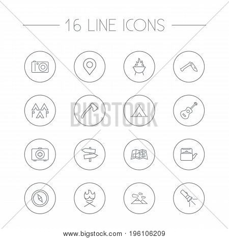 Set Of 16 Adventure Outline Icons Set