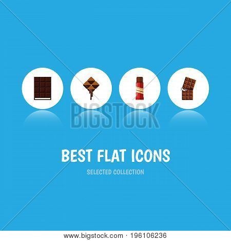 Flat Icon Cacao Set Of Dessert, Delicious, Wrapper And Other Vector Objects