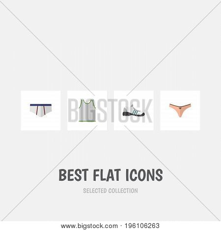 Flat Icon Dress Set Of Sneakers, Lingerie, Underclothes And Other Vector Objects