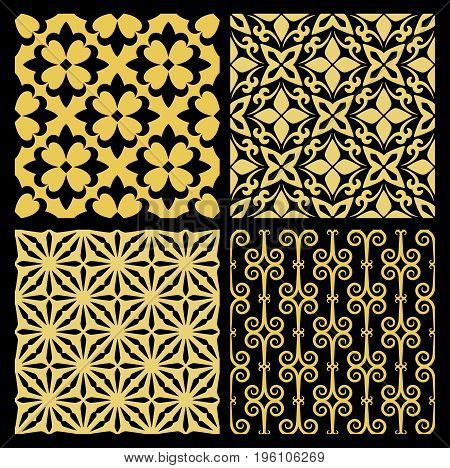 Golden spanish traditional kitchen tiles, with black background. Vector illustration