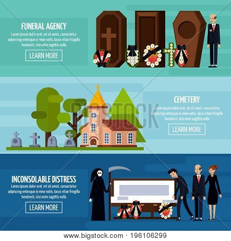Three horizontal funeral services flat banner set with funeral agency cemetery descriptions vector illustration