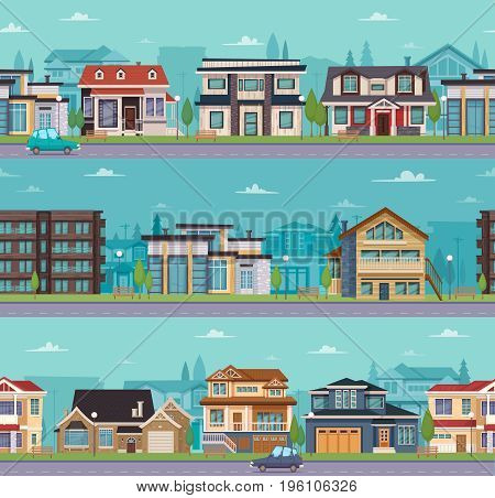 Seamless cityscape template with suburban houses and cottages of different construction vector illustration