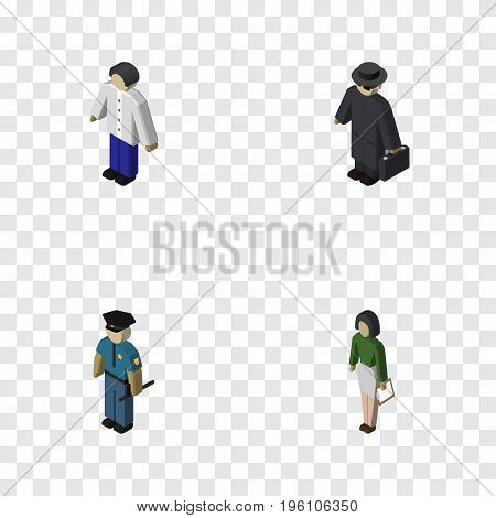 Isometric Human Set Of Pedagogue, Male, Detective And Other Vector Objects