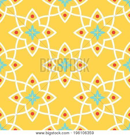 Yellow arabic ornamental decorative ceramic tile vector design