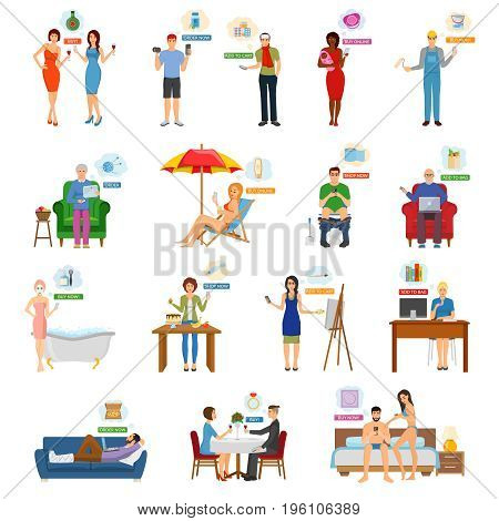 Online shopping internet buying market e-commerce character people m-commerce collection of isolated human images vector illustration
