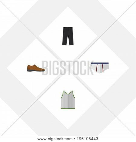 Flat Icon Dress Set Of Male Footware, Underclothes, Singlet And Other Vector Objects