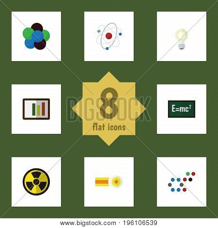 Flat Icon Science Set Of Diagram, Irradiation, Proton And Other Vector Objects