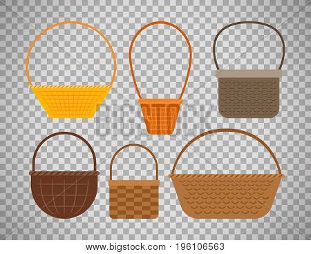 Empty baskets isolated on transparent background. Osier wicker picnic vector basket set