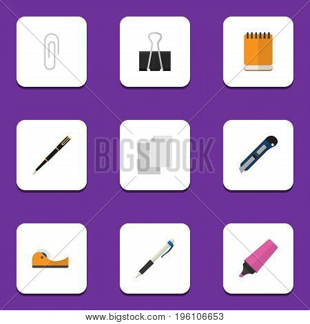 Flat Icon Equipment Set Of Sheets, Fastener Page, Notepaper And Other Vector Objects