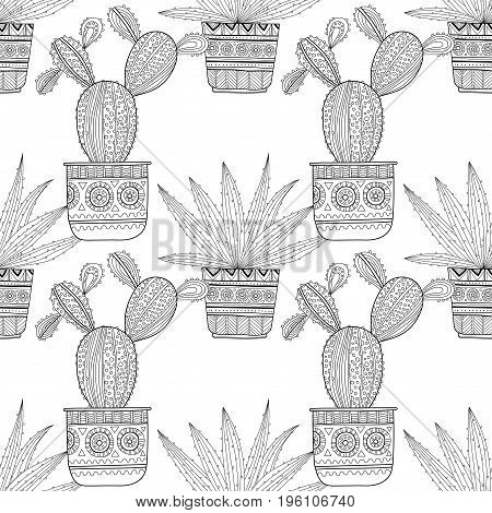 Black and white seamless pattern of ornamental cacti and succulents for coloring books and pages