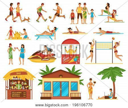 Beach activity decorative icons set with people sport games sunbathing ice cream bar bungalow isolated vector illustration
