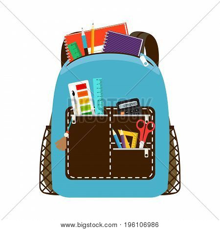 Blue schoolbag. Children school bag packs isolated on white background with notebook and equipment