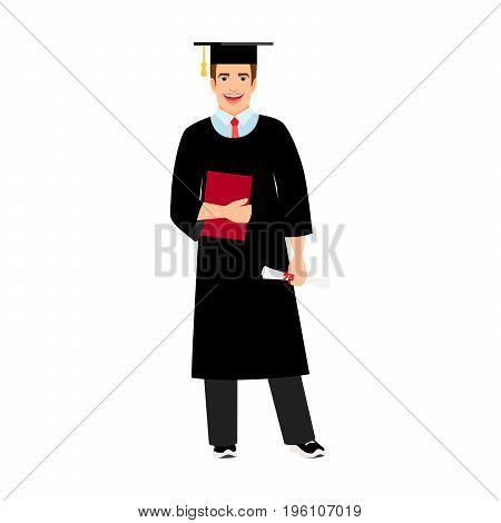 Student graduation vector illustration. University male student graduate isolated on white background