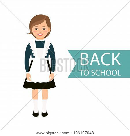 Back to school kid in uniform isolated on white background. Vector illustration