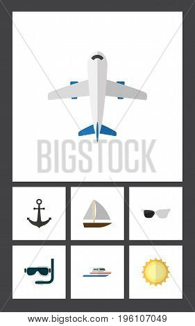 Flat Icon Beach Set Of Aircraft, Spectacles, Boat And Other Vector Objects