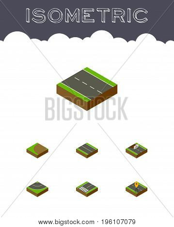Isometric Way Set Of Navigation, Turning, Repairs And Other Vector Objects